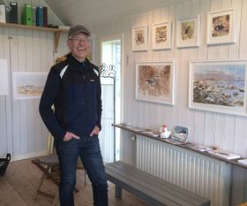 Artist Peter Nilsson in his studio, Öland